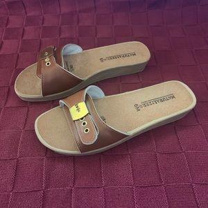 Naturalizer Cork and Leather Slide Sandals